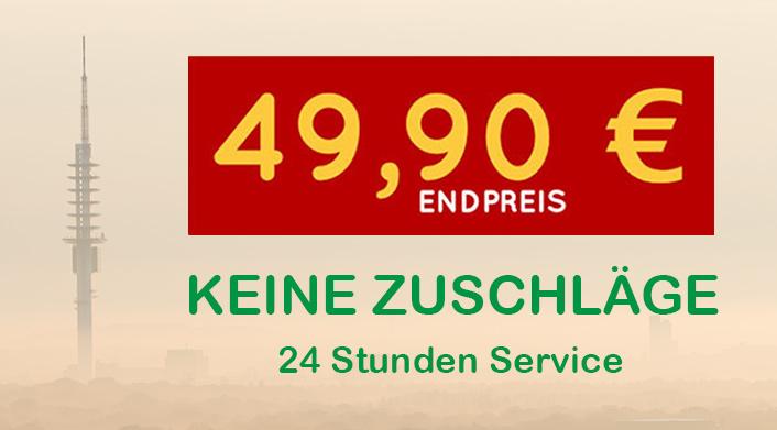 Schlüsseldienst Türöffnung Endpreis 49,90€. Keine Zuschläge.