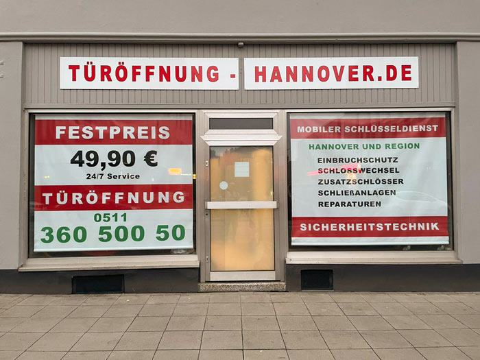 Schlüsseldienst Hannover Ladengeschäft Front Ansieht